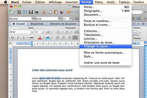 transformer un texte majuscule en minuscule sous word cours faciles sur les principales
