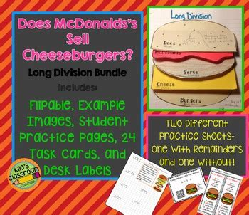 long division  mcdonalds sell cheese burgers math