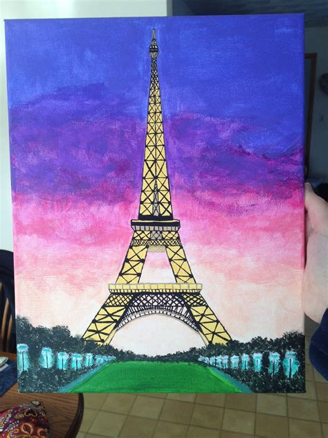 Canvas Painting Of Eiffel Tower I Painted For My Roommate