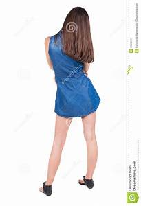 Back View Of Standing Young Beautiful Woman  Brunette Girl