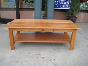 Cherry quotmissionquot coffee table with drawer and shelf for Light cherry coffee table