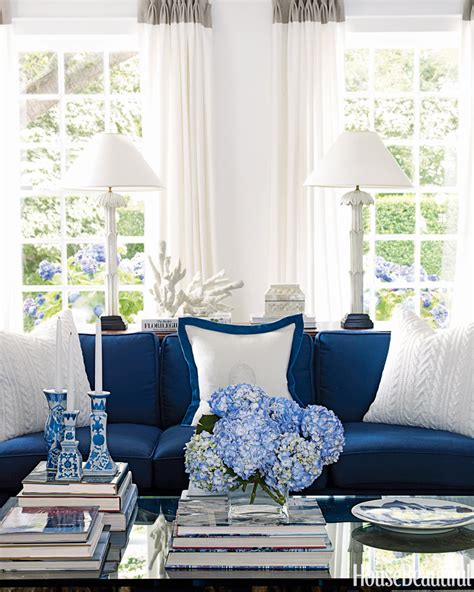 blue  white living room house beautiful pinterest