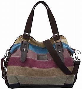 Handtasche Mit Rollen : coofit multi color striped canvas damen handtasche umh ngetasche taschen ~ Eleganceandgraceweddings.com Haus und Dekorationen