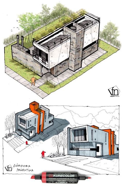 Architectural Flow Surrealist Home Illustrations by 3434 Best Architectural Presentations Drawings Models