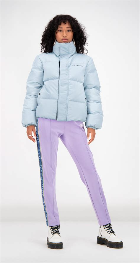 daily paper light blue puffer jacket women front   kleding