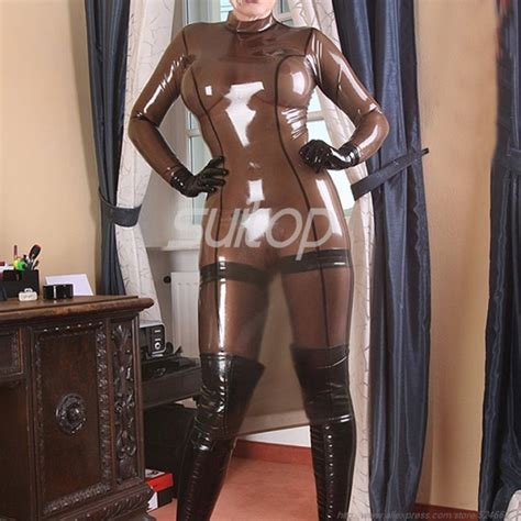 sexy rubber latex dress includes long stockings  feet  transparent black color  lady