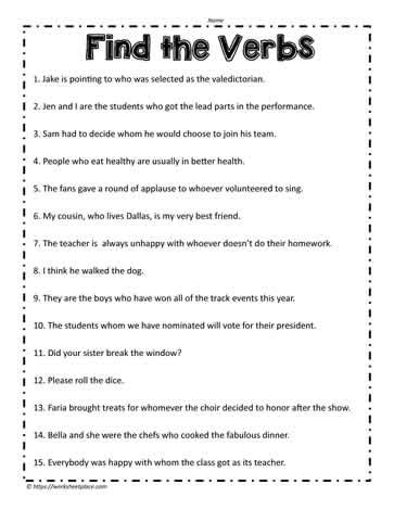 types of verbs worksheet free worksheets library