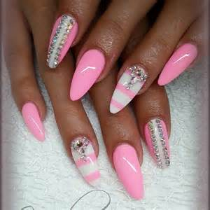 Pink and White Nail Art Design