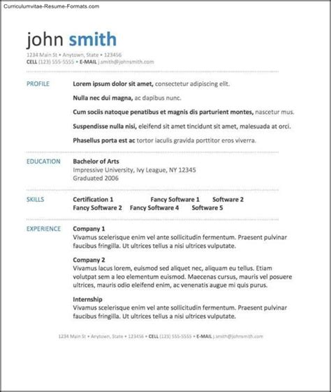resume format free in ms word 2007 28 images free