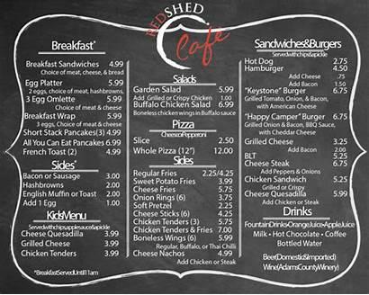 Cafe Shed Menu Restaurant Camping Resort Hill