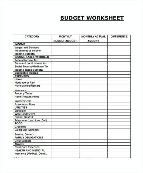 budget spreadsheet template excel  images