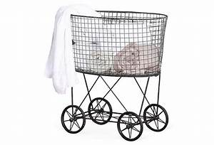 Wire laundry basket w wheels one kings lane laundry for Laundry room baskets with wheels