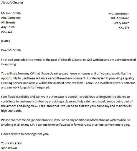 sample application letter  cleaning job cover letter