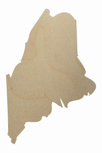 Maine State Wood Shape Cutout Shapes Wooden