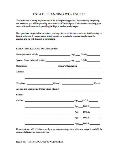 Estate Planning Worksheet  James F Taylor