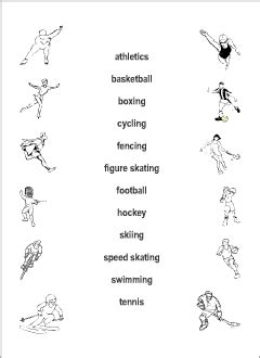 sport vocabulary for learning printable resources
