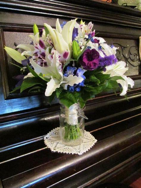 Wedding Bouquet White Lilies Purple Mini Carnations