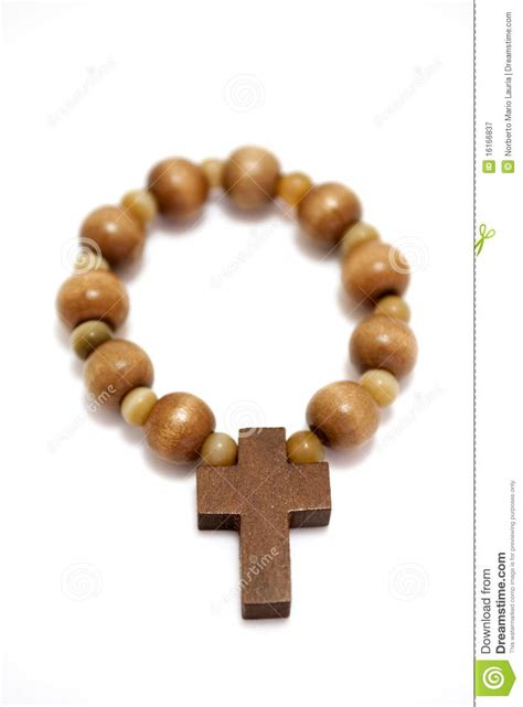 small wood beaded rosary royalty  stock photography