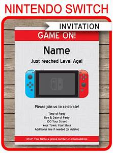 Dinosaur Birthday Party Invitations Nintendo Switch Party Invitations Template Video Game