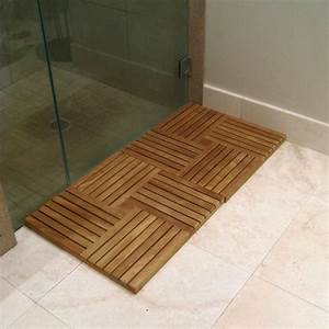 Teak floor tiles bathroom gurus floor for Teak tiles bathroom