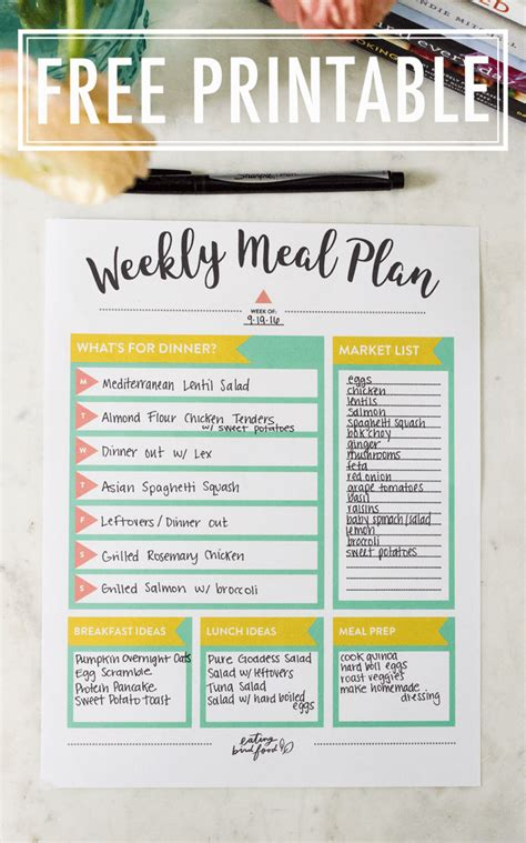 meal planning tips  meal planning printable eating