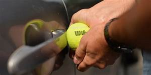 Unlocking your car door with A tennis ball