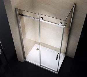 paroi de douche fixe et porte coulissante ex802 en verre With porte de douche coulissante avec tapis salle de bain grande taille
