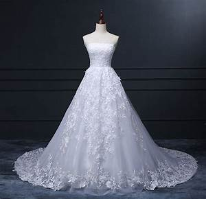 real made strapless white lace tulle puffy skirt long With tulle skirt wedding dress