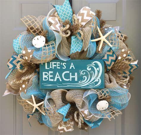 Lifes A Beach Burlap Deco Mesh Wreath With Seashells