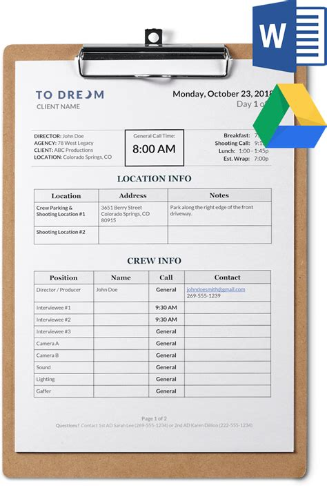 simple call sheet template word  sethero