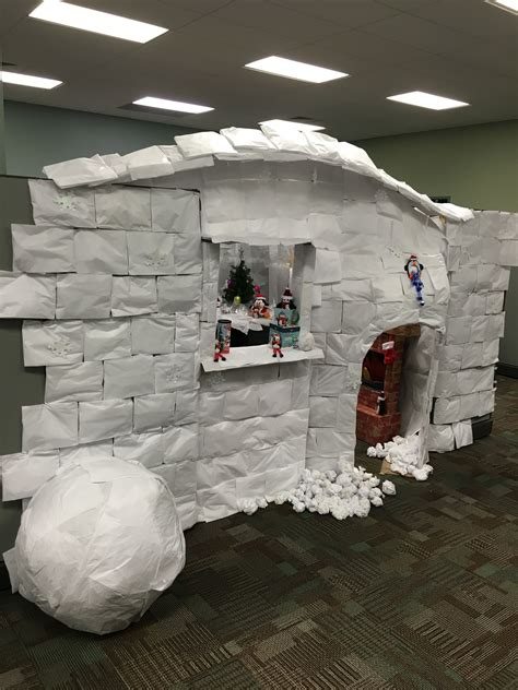 cubicle decoration igloo christmas office christmas