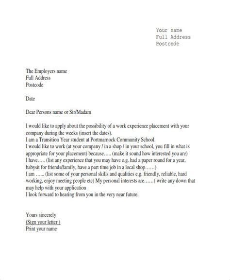 Dentistry Work Experience Letter by Application Letter For Work Experience Sle Placement