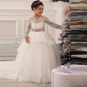 puffy kids ball gown dresses ivory long sleeve flower girl With wedding dresses for kids