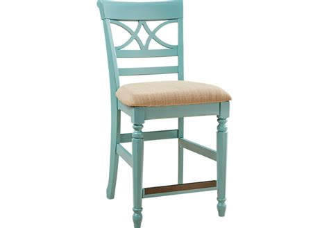 Colored Leather Bar Stools by Cindy Crawford Home Ocean Grove Blue Green Counter Height