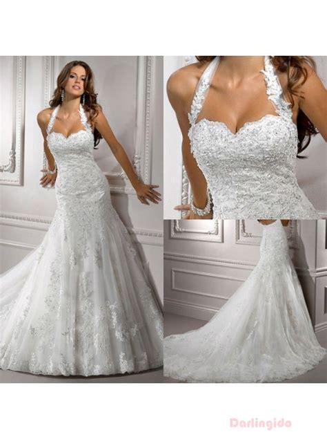 Mermaid Gown Wedding Dresses 2013 Halter Full Lace