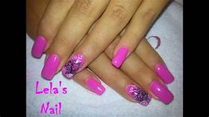 Pink butterfly nail art gelish candyland gel nails