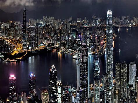 asia city hong kong  china   night bay boats buildings skyscrapers night lights