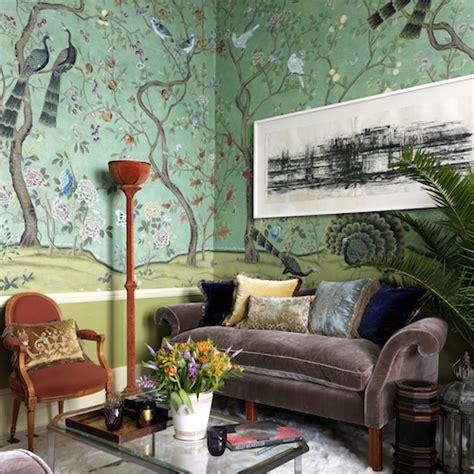 lush london flat   de gournay wallpaper