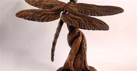 dragonfly wood carving hand carved  mike berlin wood