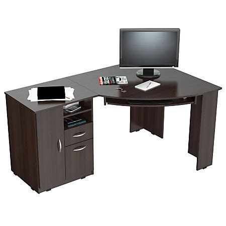 office max computer desk inval corner computer desk espresso wengue by office depot