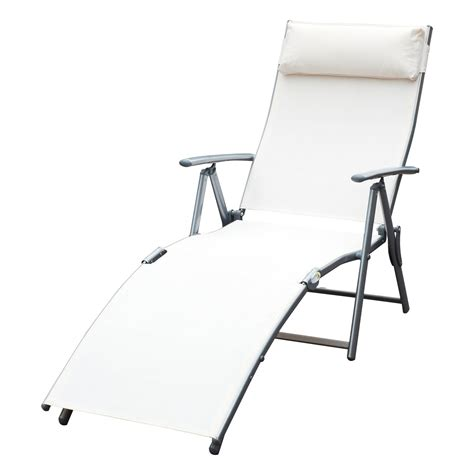 chaise textilene outsunny steel mesh outdoor folding chaise lounge chair
