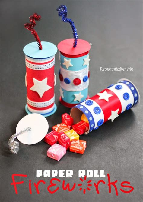 Paper Roll Fireworks with a Candy Surprise - Repeat Crafter Me