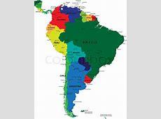 South America political map Stock Vector Colourbox