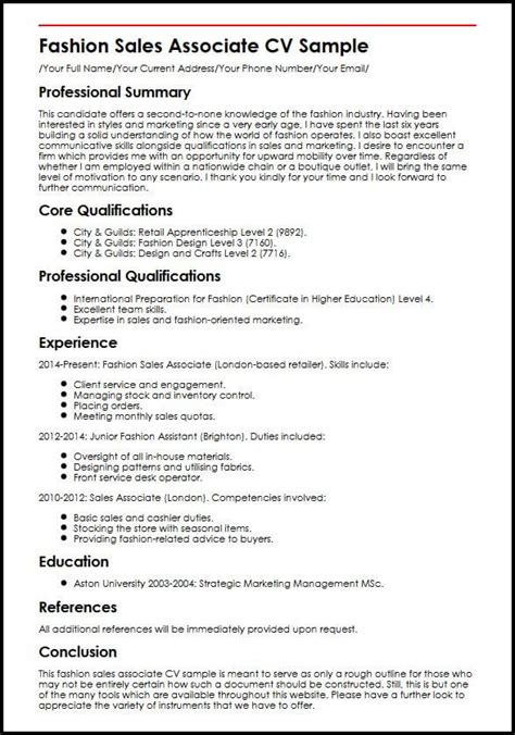 How To Write A Professional Cv Sles by Fashion Sales Associate Cv Sle Myperfectcv