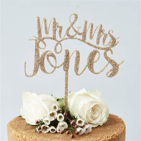 Romantic Personalised Mr And Mrs Cake Topper By Sophia