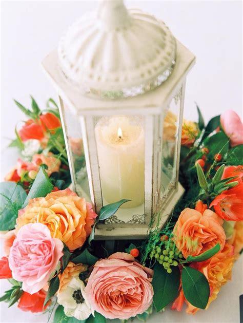 Lantern Centerpiece With Flower Wreath Wedding Blog And