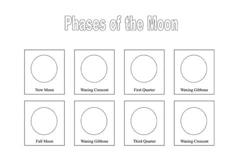 Moon Phases Worksheet Printable  Free Printables Phases Of The Moon Notebooking Page  Back To