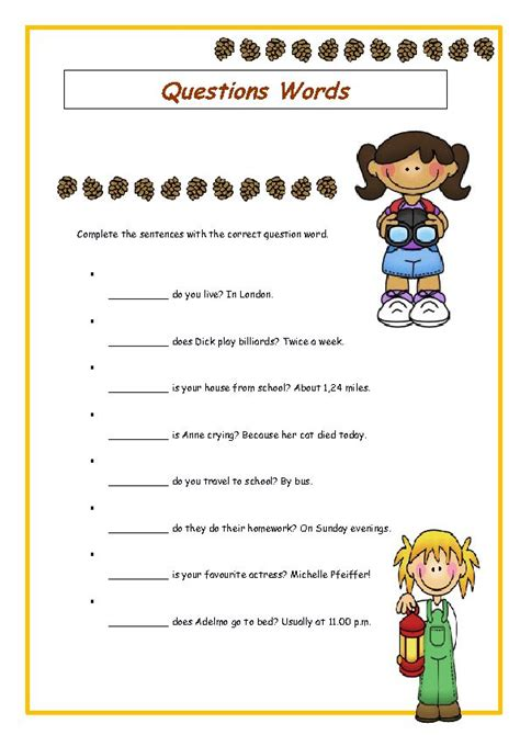 wh question words elementary worksheet wh