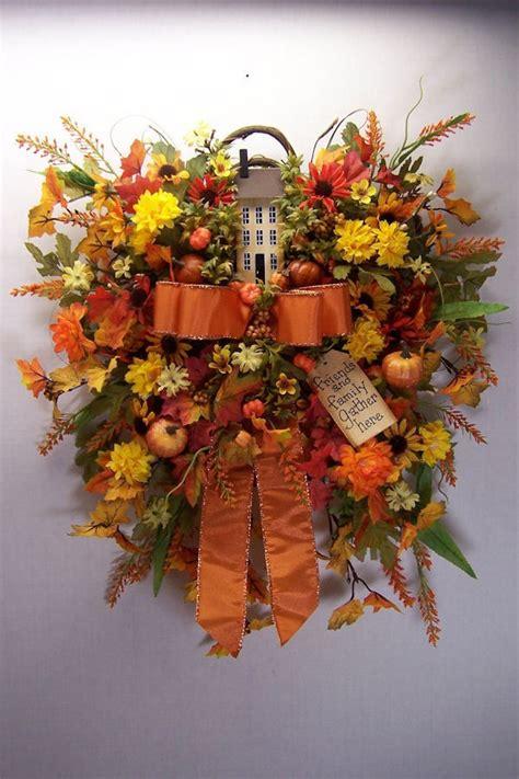 wreath fall saltbox pumpkin primitive ebay fall