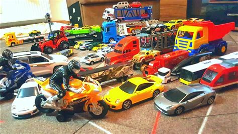 Cars And Trucks Playing With Toy Cars And Toddler's Toy